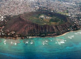 Diamond Head, volcanic tuff cone on island of O'ahu, Hawaii